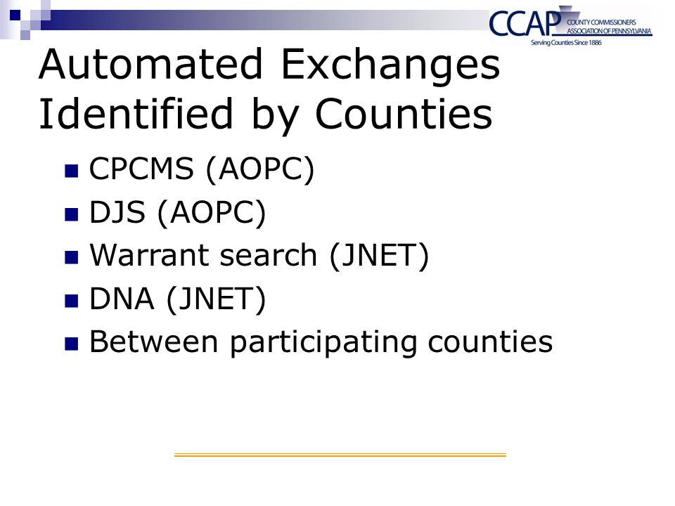 Automated Exchanges Identified by Counties