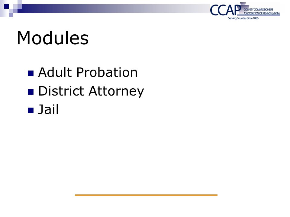 Modules Adult Probation District Attorney Jail
