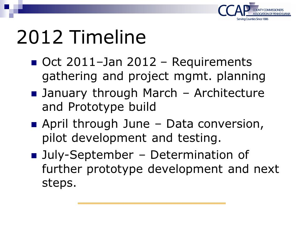 2012 Timeline Oct 2011–Jan 2012 – Requirements gathering and project mgmt. planning. January through March – Architecture and Prototype build.