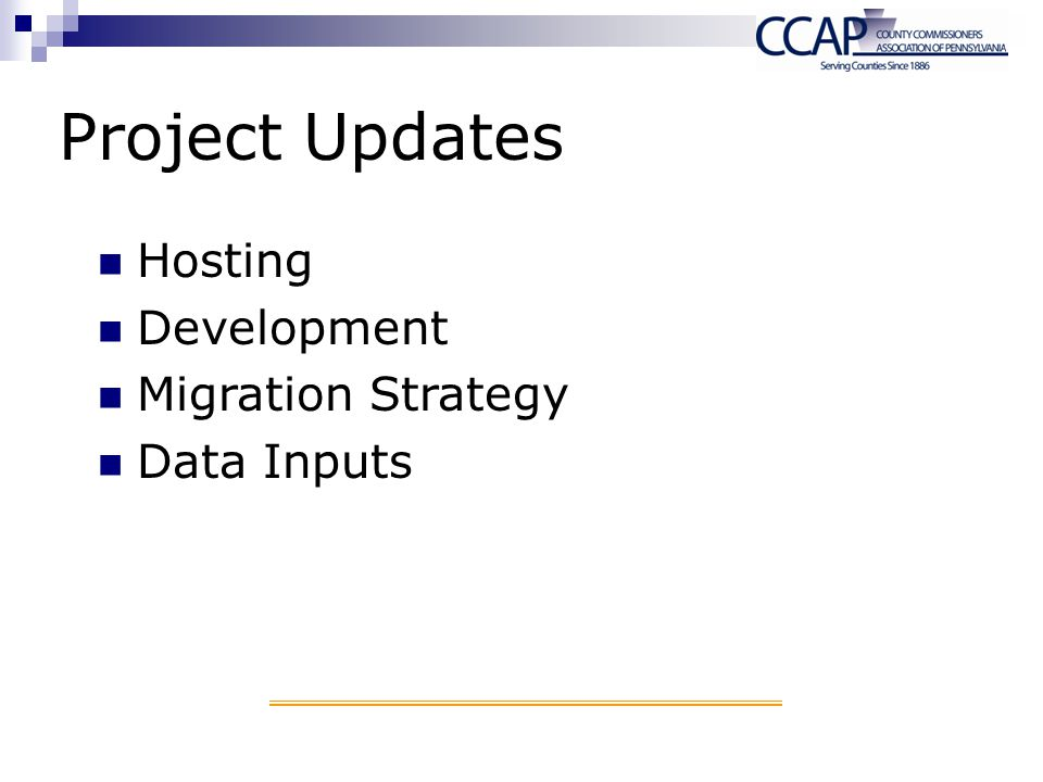 Project Updates Hosting Development Migration Strategy Data Inputs