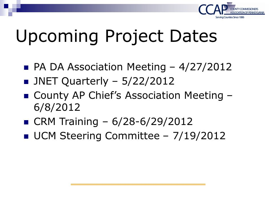 Upcoming Project Dates