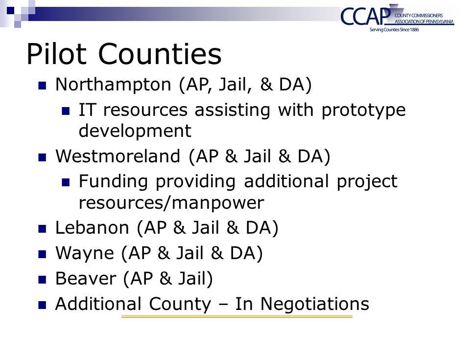 Pilot Counties Northampton (AP, Jail, & DA)