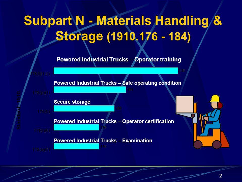 Subpart N - Materials Handling & Storage (1910.176 - 184)