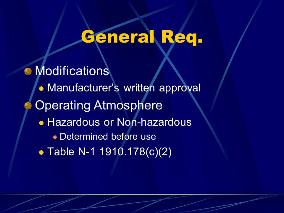 General Req. Modifications Operating Atmosphere