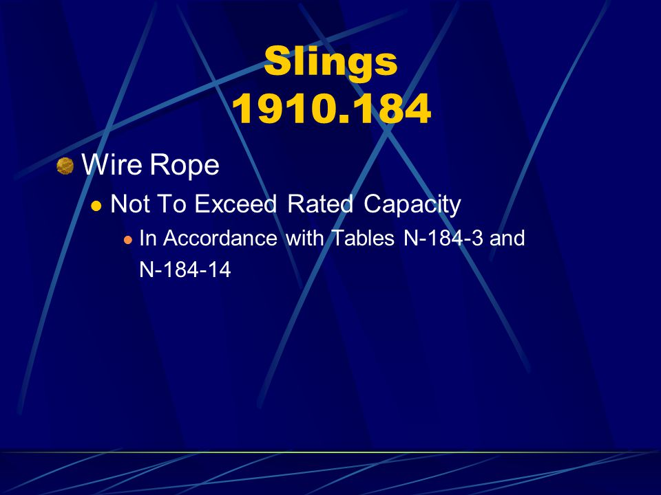 Slings 1910.184 Wire Rope Not To Exceed Rated Capacity