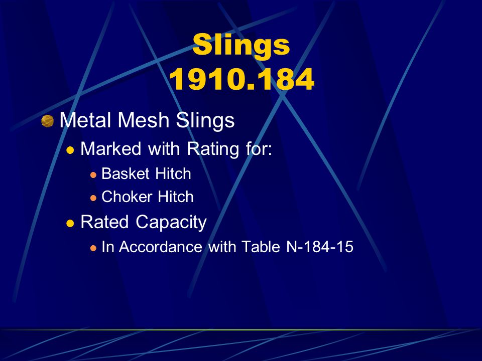 Slings 1910.184 Metal Mesh Slings Marked with Rating for: