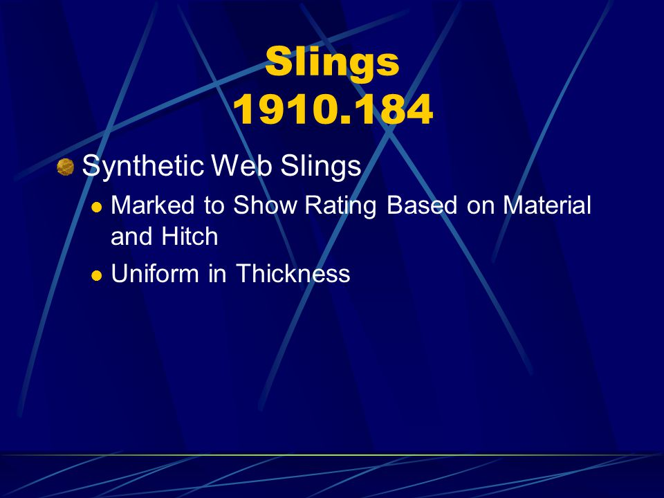 Slings 1910.184 Synthetic Web Slings
