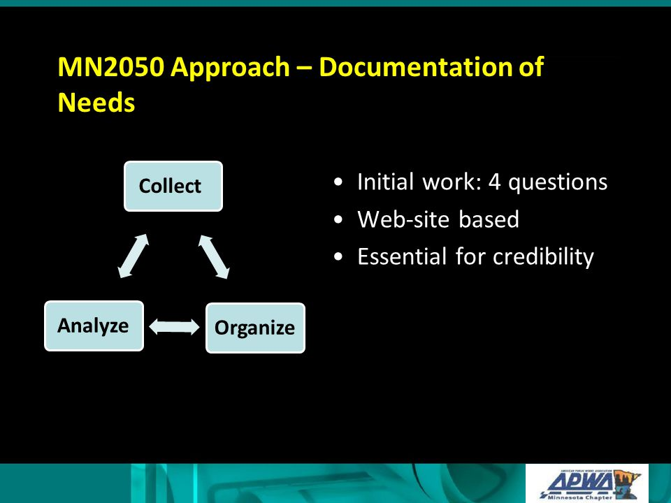 MN2050 Approach – Documentation of Needs