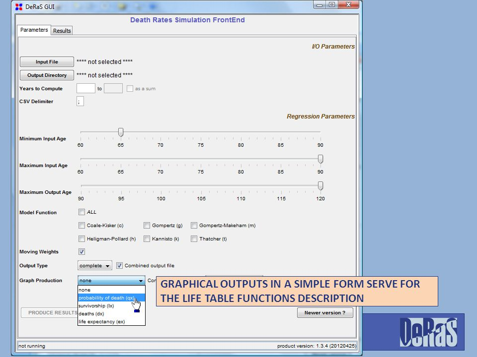GRAPHICAL OUTPUTS IN A SIMPLE FORM SERVE FOR THE LIFE TABLE FUNCTIONS DESCRIPTION