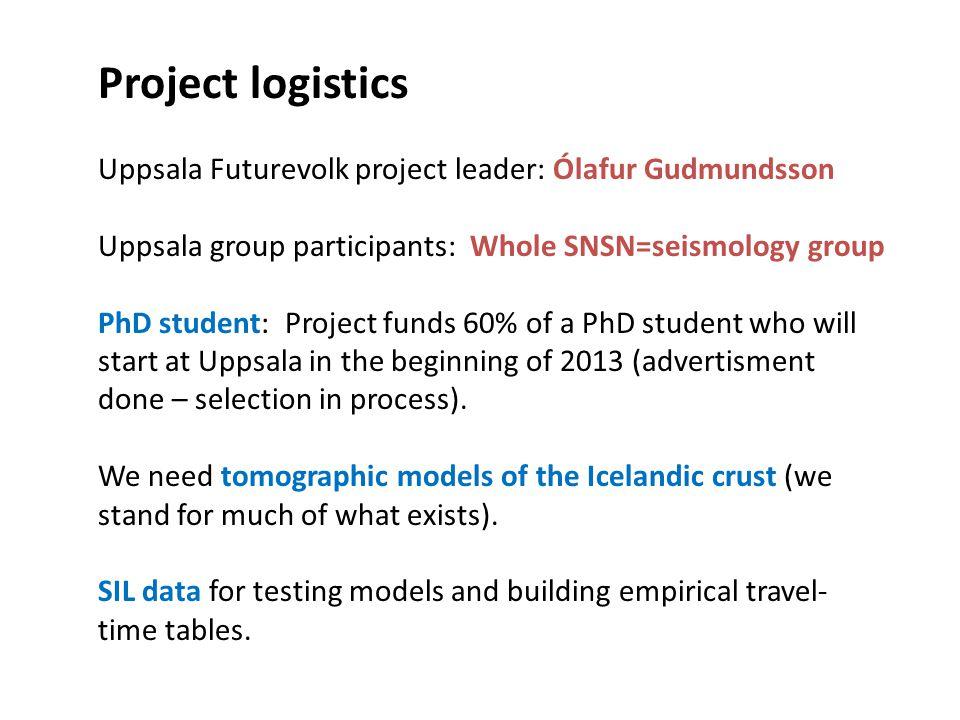 Project logistics Uppsala Futurevolk project leader: Ólafur Gudmundsson. Uppsala group participants: Whole SNSN=seismology group.