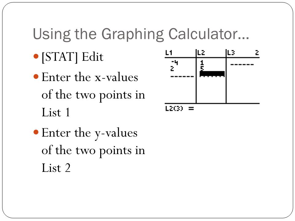 Using the Graphing Calculator…