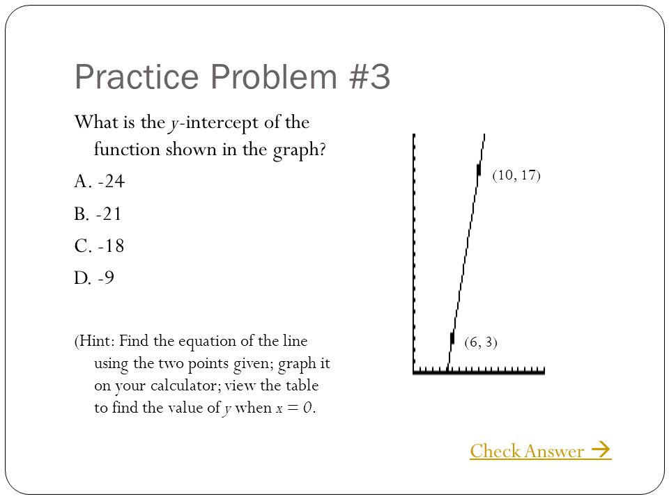 Practice Problem #3 What is the y-intercept of the function shown in the graph A. -24. B. -21. C. -18.