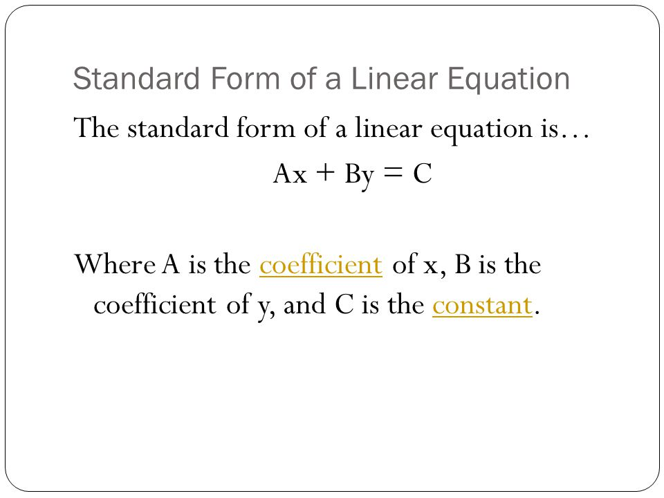 Standard Form Of A Linear Equation – Standard Form of a Linear Equation Worksheet
