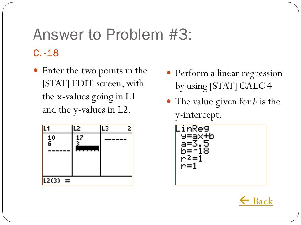 Answer to Problem #3:  Back