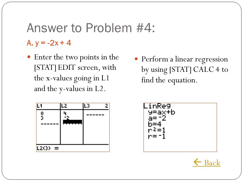 Answer to Problem #4:  Back