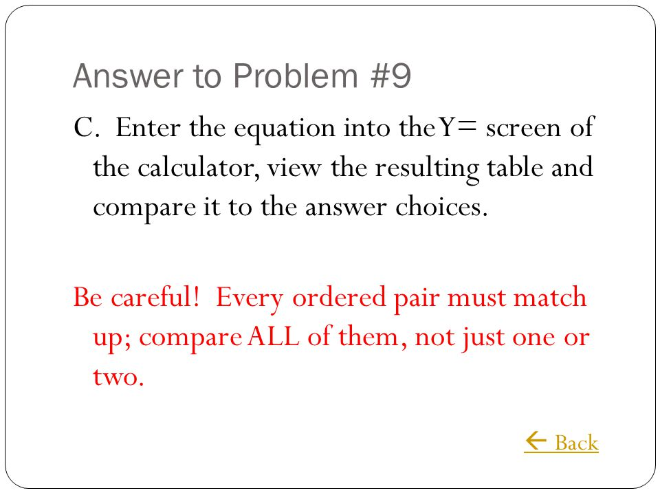 Answer to Problem #9