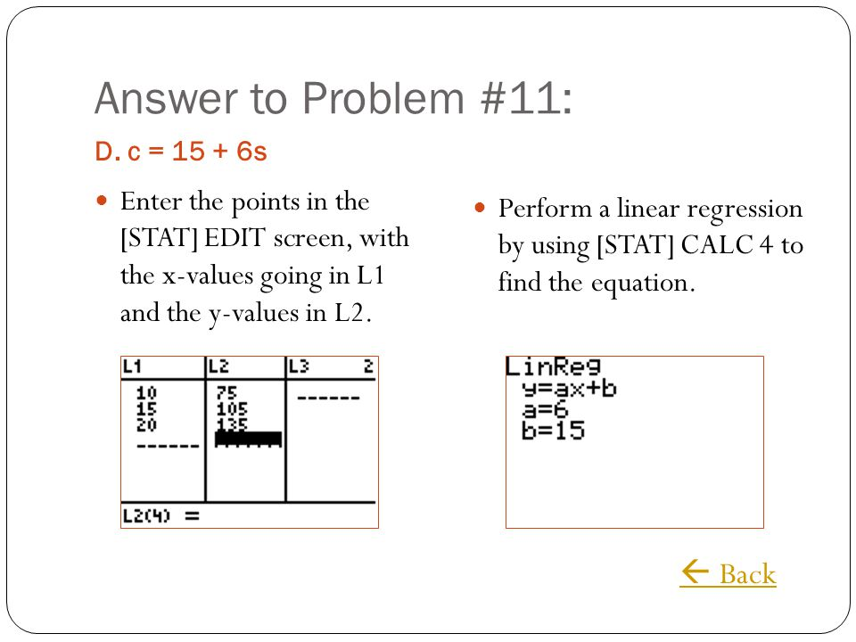 Answer to Problem #11:  Back