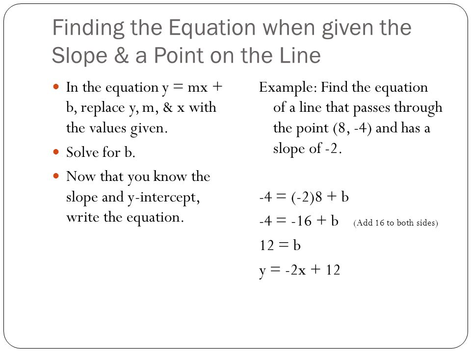 Finding the Equation when given the Slope & a Point on the Line