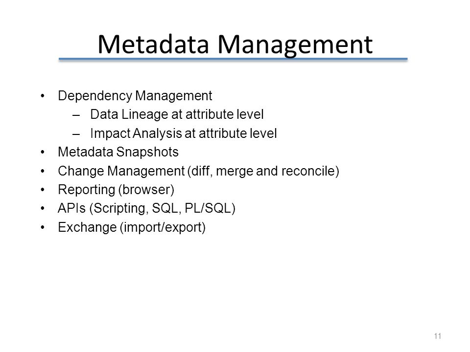 Metadata Management Dependency Management
