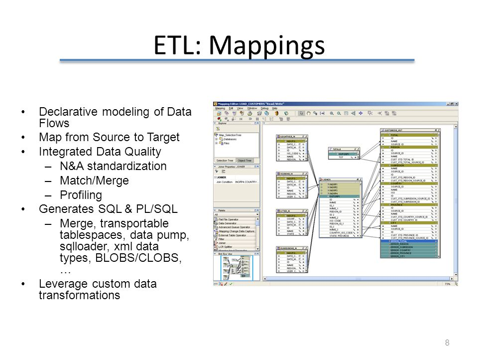 ETL: Mappings Declarative modeling of Data Flows