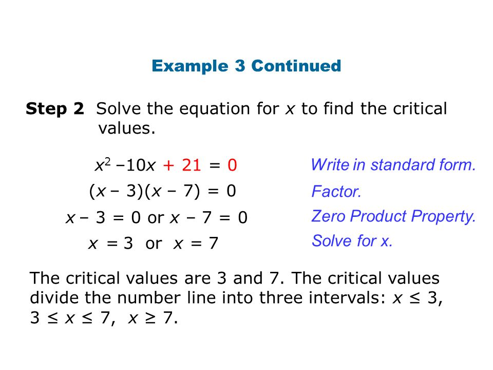 Example 3 Continued Step 2 Solve the equation for x to find the critical values. x2 –10x + 21 = 0.
