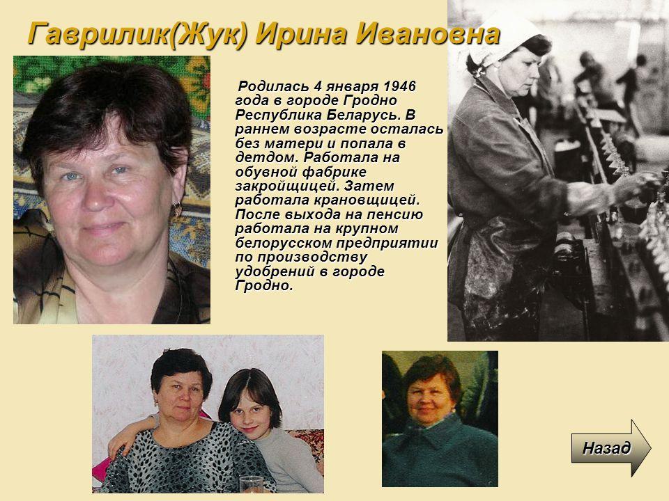 Гаврилик(Жук) Ирина Ивановна
