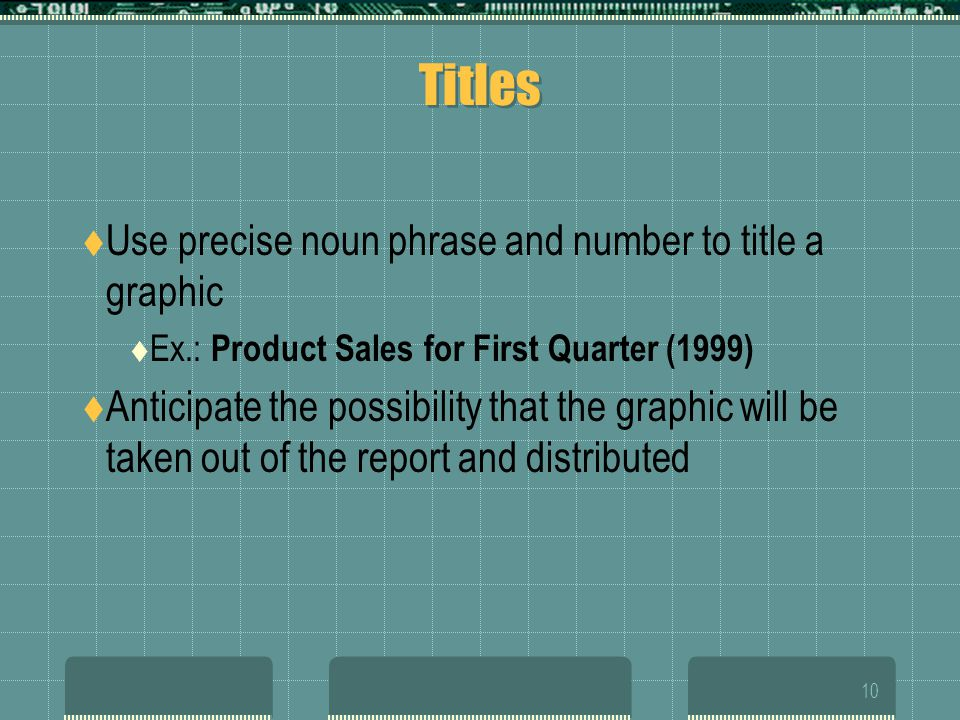 Titles Use precise noun phrase and number to title a graphic