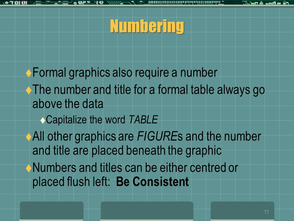 Numbering Formal graphics also require a number