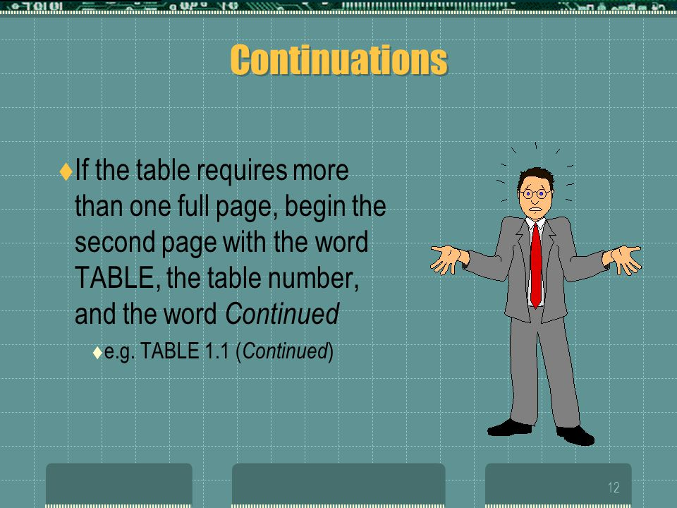Continuations If the table requires more than one full page, begin the second page with the word TABLE, the table number, and the word Continued.