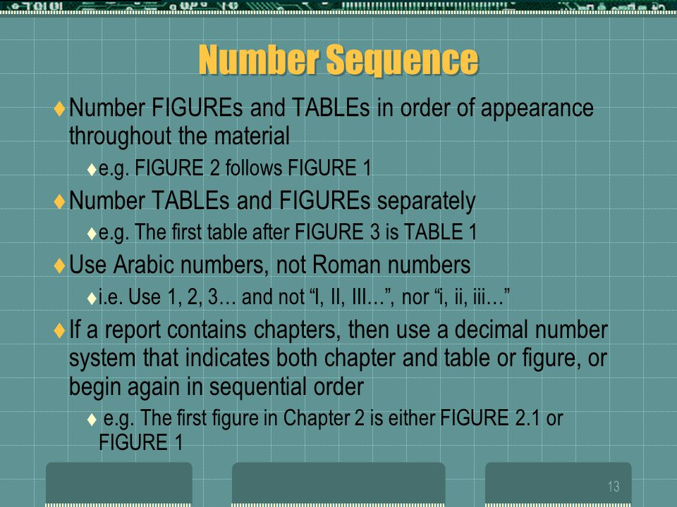 Number Sequence Number FIGUREs and TABLEs in order of appearance throughout the material. e.g. FIGURE 2 follows FIGURE 1.