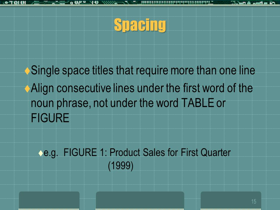 Spacing Single space titles that require more than one line