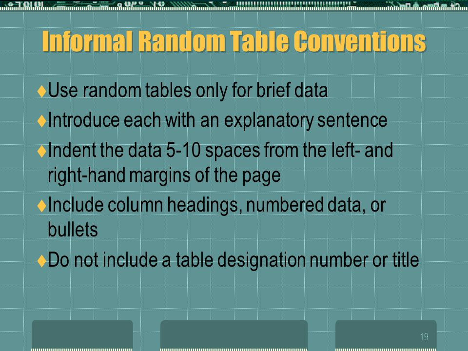 Informal Random Table Conventions