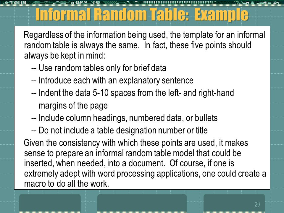 Informal Random Table: Example