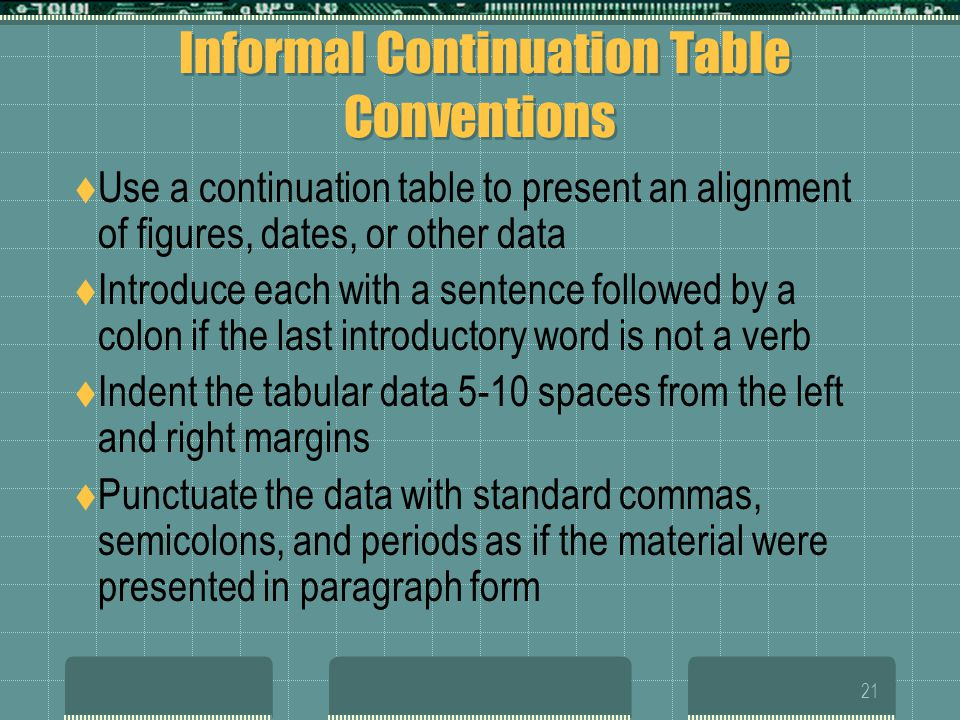 Informal Continuation Table Conventions