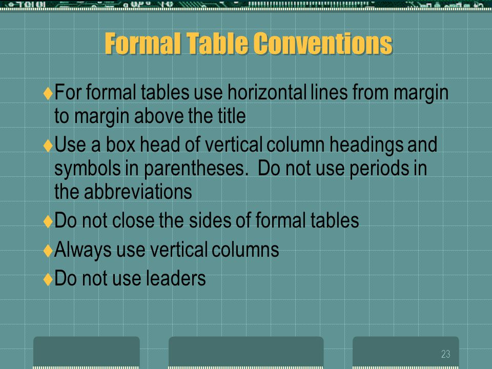 Formal Table Conventions