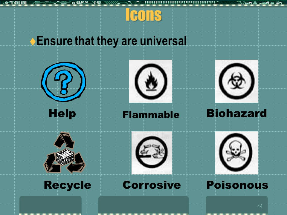 Icons Ensure that they are universal Help Biohazard Recycle Corrosive