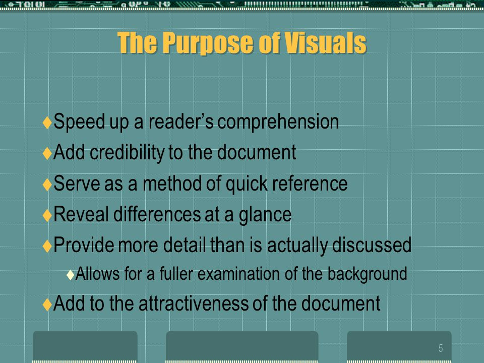 The Purpose of Visuals Speed up a reader's comprehension