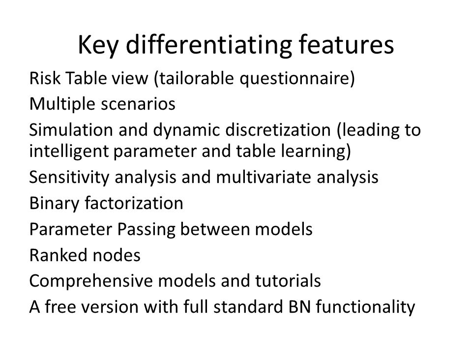 Key differentiating features