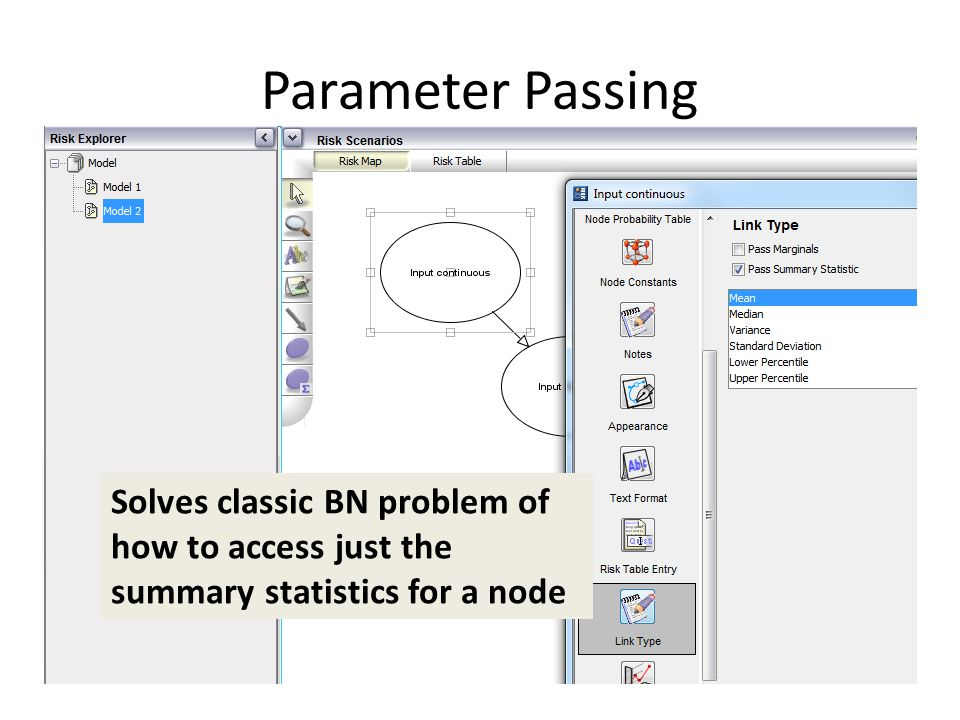 Parameter Passing Solves classic BN problem of how to access just the summary statistics for a node