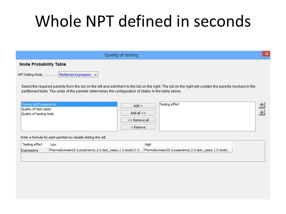 Whole NPT defined in seconds