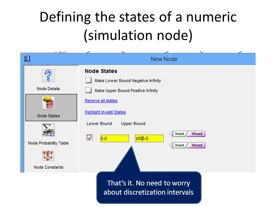 Defining the states of a numeric (simulation node)