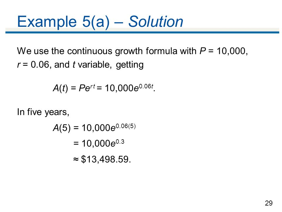 Example 5(a) – Solution We use the continuous growth formula with P = 10,000, r = 0.06, and t variable, getting.