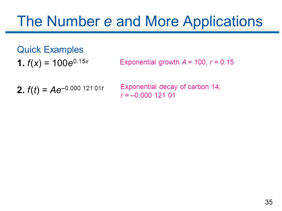The Number e and More Applications