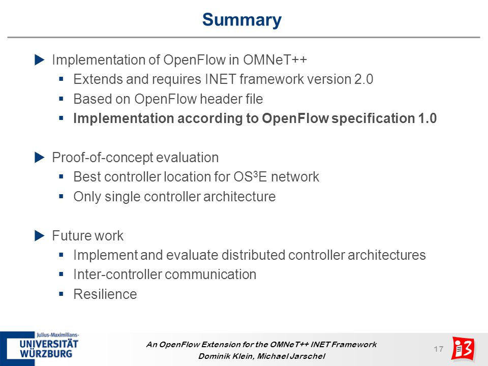 Summary Implementation of OpenFlow in OMNeT++