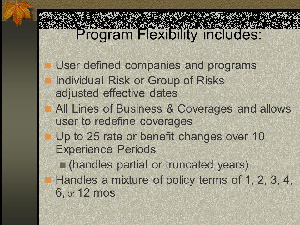 Program Flexibility includes: