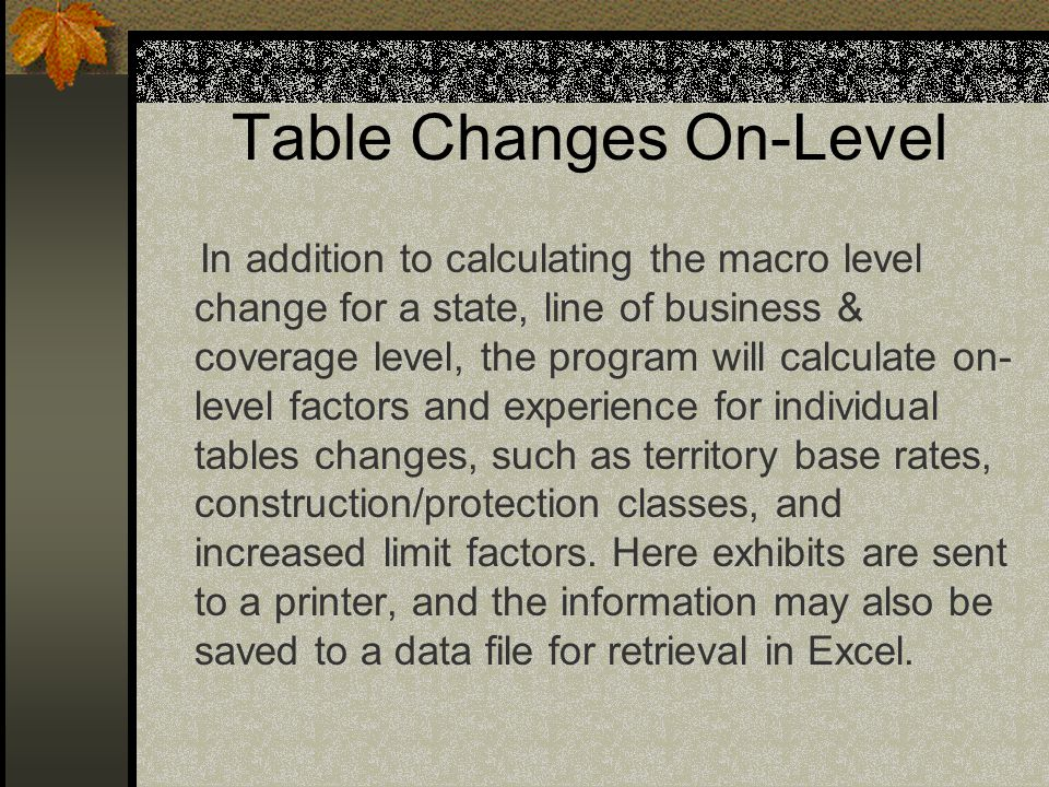 Table Changes On-Level
