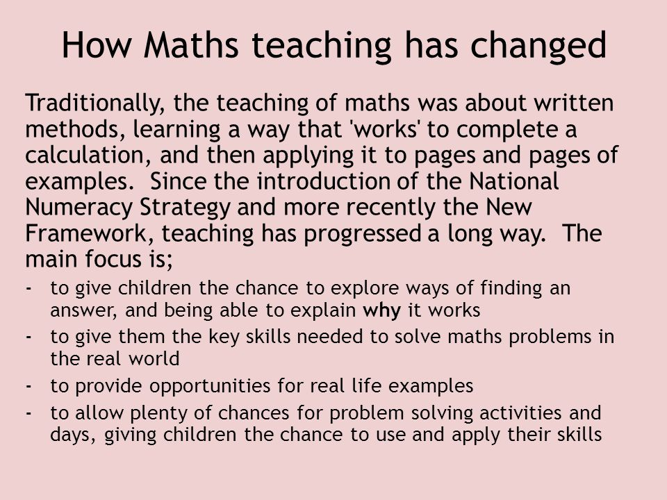 How Maths teaching has changed