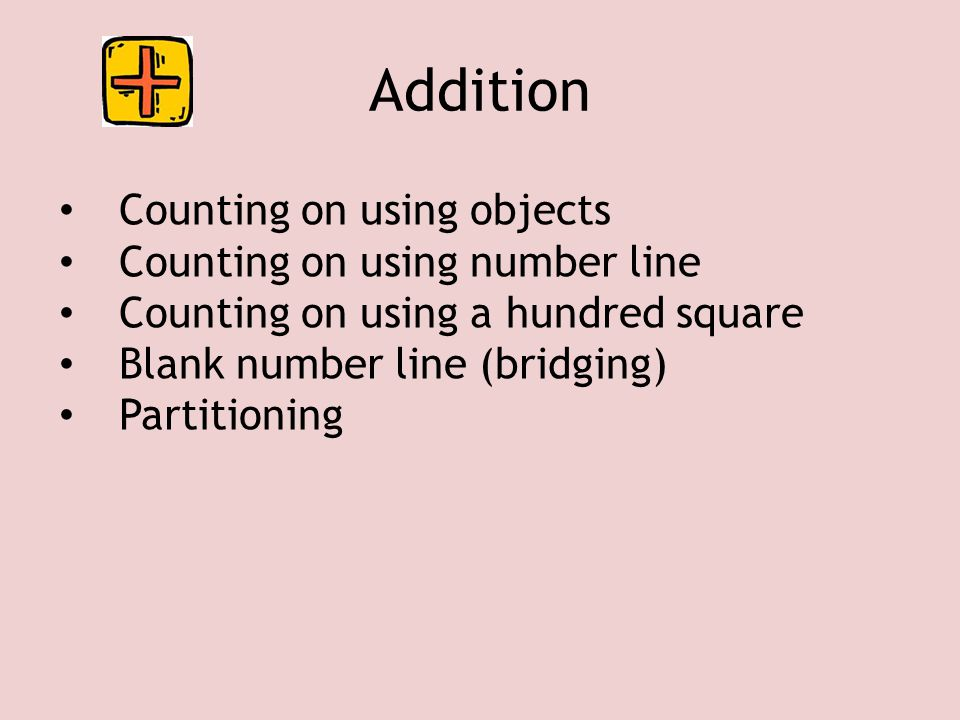 Addition Counting on using objects Counting on using number line