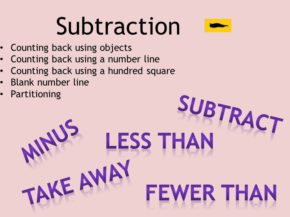 Subtraction Subtract Minus Less than Take away Fewer than