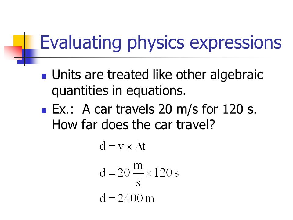 Evaluating physics expressions